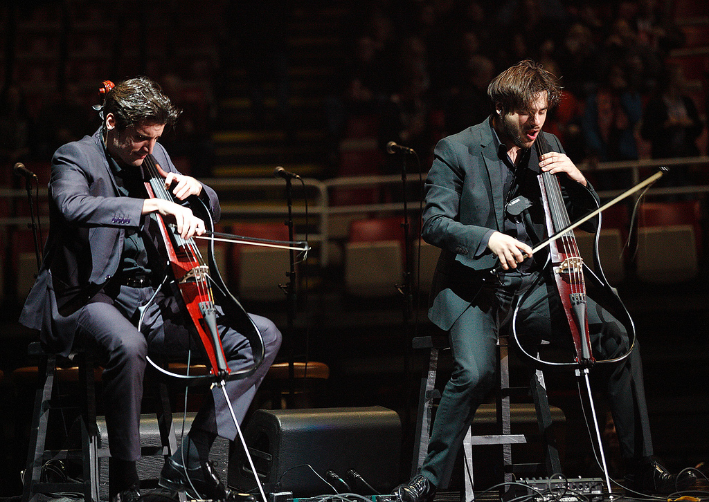 . 2Cellos opened for Elton John at Joe Louis Arena on Friday night. Photo by Ken Settle