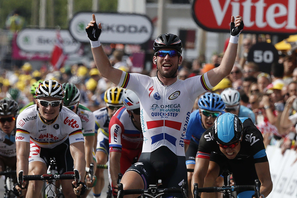 . Britain\'s Mark Cavendish celebrates as he crosses the finish line at the end of the 228.5 km fifth stage of the 100th edition of the Tour de France cycling race on July 3, 2013 between Cagnes-sur-Mer and Marseille, southern France.    AFP PHOTO / PASCAL GUYOT/AFP/Getty Images
