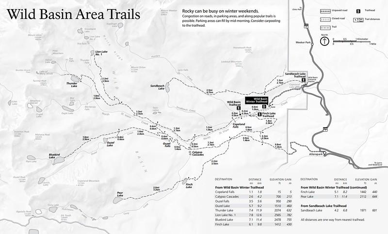 Rocky Mountain National Park (Trails - Wild Basin Area - Winter)