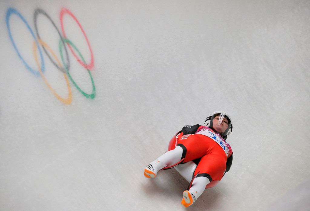 . Miriam Kastlunger of Austria makes a run during the Women\'s Luge Singles on Day 3 of the Sochi 2014 Winter Olympics at Sliding Center Sanki on February 10, 2014 in Sochi, Russia.  (Photo by Adam Pretty/Getty Images)