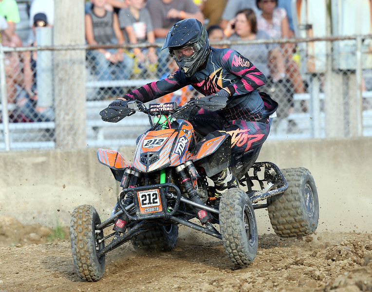 Wadsworth's Colton Csuhta set up to make a turn during his race at the Medina County Fair. Aaron Josefczyk/Gazette
