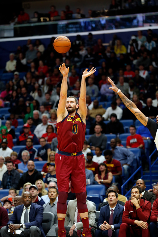 . Cleveland Cavaliers forward Kevin Love (0) shoots in the first half of an NBA basketball game against the New Orleans Pelicans in New Orleans, Saturday, Oct. 28, 2017. (AP Photo/Gerald Herbert)