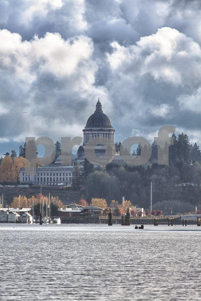 The Capitol building located at the southern tip of Budd Inlet in Olympia, WA.
