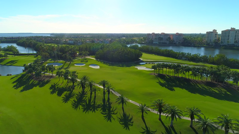 Aerial video Deering Bay Golf course landscape 4k