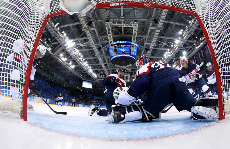 . Peter Budaj #31 of Slovakia tends goal against United States during the Men\'s Ice Hockey Preliminary Round Group A game on day six of the Sochi 2014 Winter Olympics at Shayba Arena on February 13, 2014 in Sochi, Russia.  (Photo by Martin Rose/Getty Images)