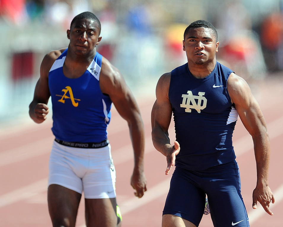 . Bishop Amat\'s Darren Andrews finished second behind Notre Dame\'s Khalfani Muhammad in the 100 meters race during the CIF-SS track & Field championship finals in Hilmer Stadium on the campus of Mt. San Antonio College on Saturday, May 18, 2013 in Walnut, Calif.  (Keith Birmingham Pasadena Star-News)