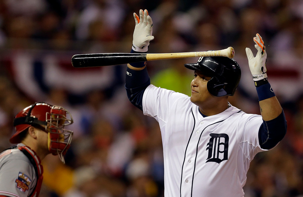. American League\'s Miguel Cabrera, of the Detroit Tigers, reacts after flying out to end the fifth inning of the MLB All-Star baseball game, Tuesday, July 15, 2014, in Minneapolis. (AP Photo/Jeff Roberson)