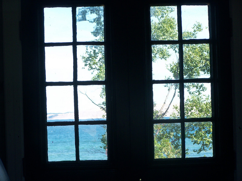 View through the windows of the restored fog signal house.