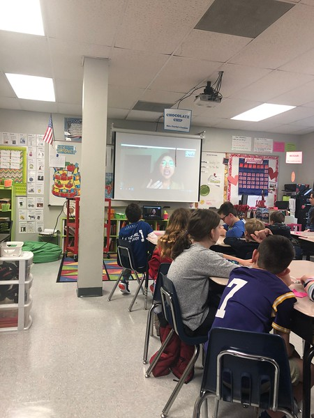 Third Grade Author Visit with Dow Phumiruk via Skype