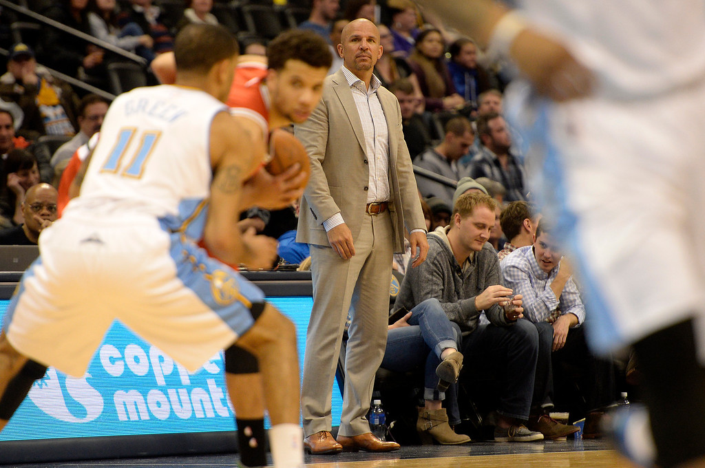 . DENVER, CO - MARCH 03: Jason Kidd of the Milwaukee Bucks watches the action against the Denver Nuggets during the second half of a 106-95 Nuggets win. The Denver Nuggets hosted the Milwaukee Bucks at the Pepsi Center on Tuesday, March 3, 2015. (Photo by AAron Ontiveroz/The Denver Post)