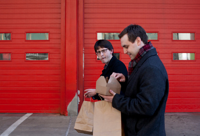 Corey Grabeic and Blake Dondlinger munching on some XOCO in Chicago, Illinois on February 19, 2011.  (Jay Grabiec)