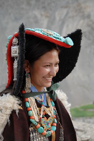 Ladakhi woman wearing a perak (turquoise headdress).