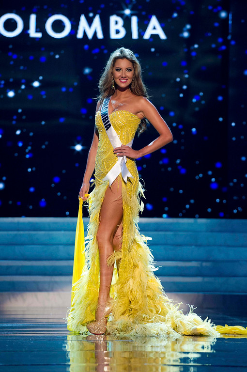 . Miss Colombia 2012 Daniella Alvarez Vasquez competes in an evening gown of her choice during the Evening Gown Competition of the 2012 Miss Universe Presentation Show in Las Vegas, Nevada, December 13, 2012. The Miss Universe 2012 pageant will be held on December 19 at the Planet Hollywood Resort and Casino in Las Vegas. REUTERS/Darren Decker/Miss Universe Organization L.P/Handout
