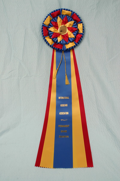 Southern Missouri Hedgehog Show 2004  Permanent Grand Champion ribbon  Filename reference: 20040612-220536-HAH-SMHC_2004-SM