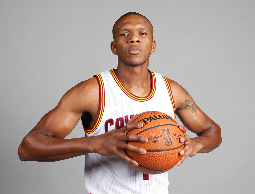 . Cleveland Cavaliers guard James Jones poses during a NBA basketball media day, Monday, Sept. 26, 2016, in Independence, Ohio. (AP Photo/Ron Schwane)