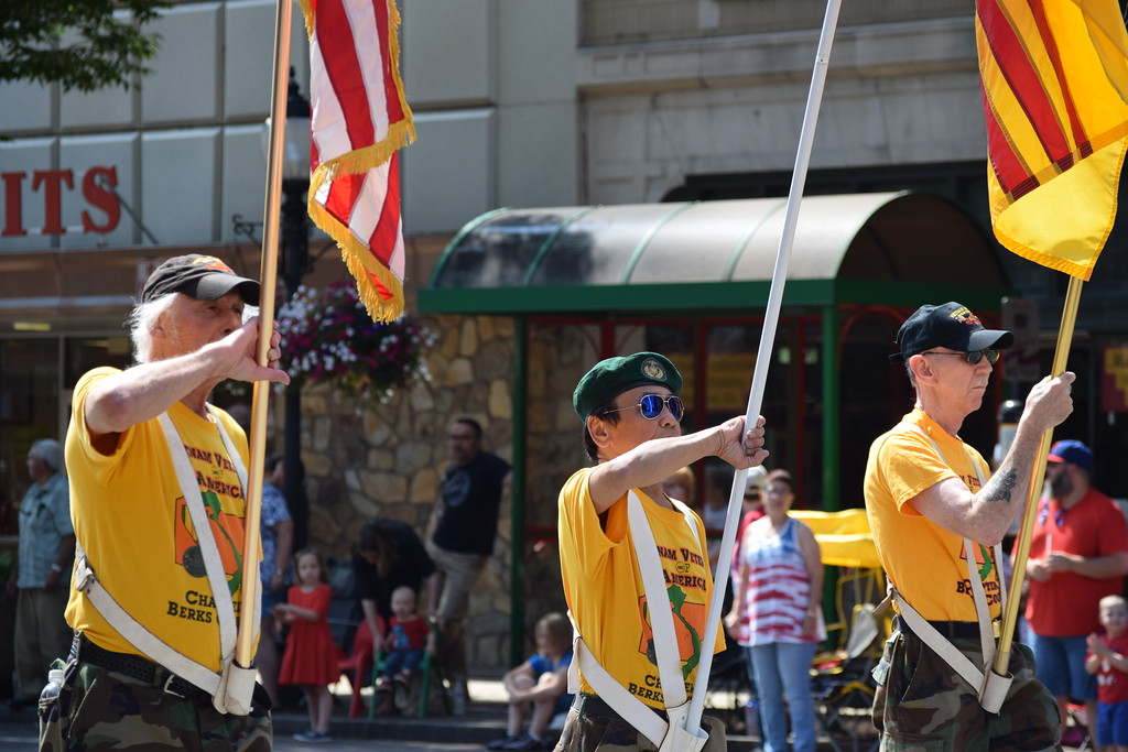 . Veterans were saluted and applauded as they marched down High Street during the Fourth of July parade on Tuesday.--Marian Dennis, Digital First Media