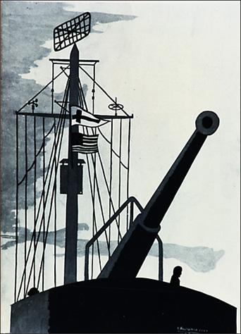 """Jacob Lawrence, """"The Big Gun,"""" 1944"""