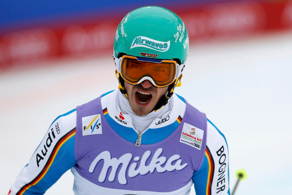 Description of . Felix Neureuther of Germany reacts during the second run of the men's Slalom race at the World Alpine Skiing Championships in Schladming February 17, 2013. REUTERS/Leonhard Foeger