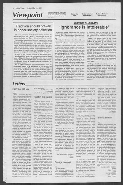 Daily Trojan, Vol. 88, No. 67, May 16, 1980