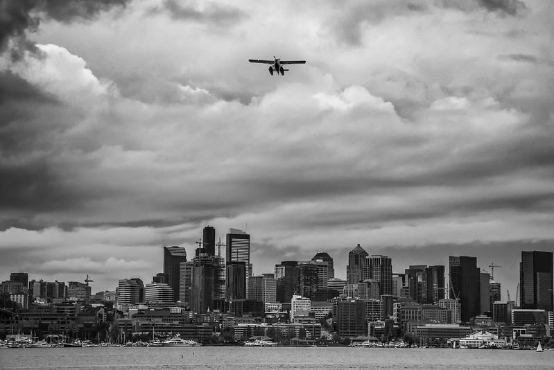 city-seattle-plane-lake-union-clouds-sky-blackandwhite-pnw.jpg