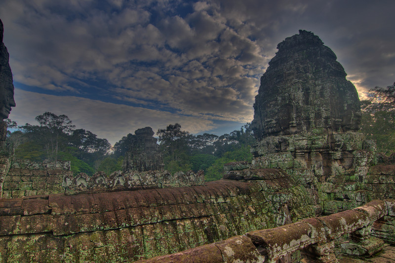 Beautiful shot of Bayon Temple at Angkor Wat