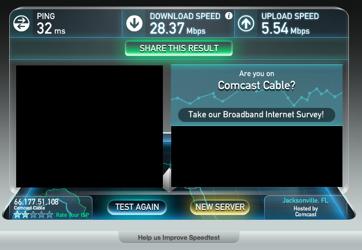 Screenshot of a speed test result on the Comcast network