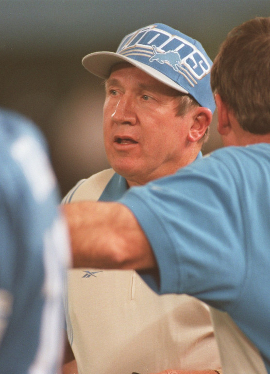 . Detroit  Lions head coach Bobby Ross during another Lion loss. The Arizonia Cardinals beat the Detroit Lions 17-15 in the Pontiac Silverdome.