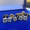 .78-.82ctw Asscher Stud Earrings, in Yellow Gold 2