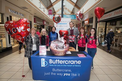 "Buttercrane Shopping Centre in association with the Michaela Foundation, The Samaritians and PIPS have launched the ""Share the Love promotion"" were a lucky customer will will a Hamper with the draw taking place on Valentines Day. Pictured are Eileen O'reilly, Dierdre Rocks, Laura McGuigan, James Loughran, Janine Diamond and Frances Morgan. R1606005"