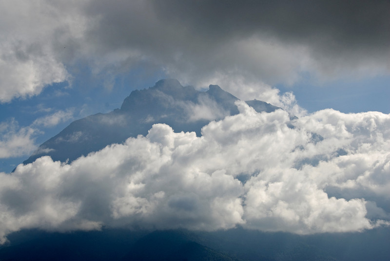 Thick clouds surrounding Mount Kinabalu in Sabah, Malaysia