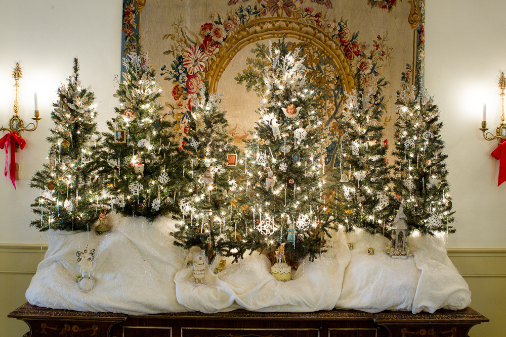 . A holiday display evoking an enchanted mountain forest is one of the many displays at the Governor\'s mansion. Photo by Mark Broste