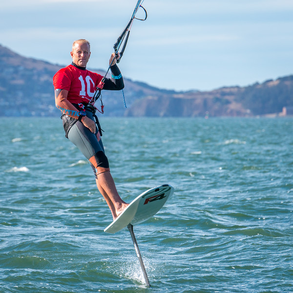 Chip Wasson Foiling Kiteboard Racing on San Francisco Bay