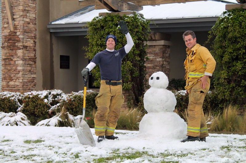 . Firefighters in Murrieta, California build a snowman outside a fire station following a storm that brought several inches of snow to the Inland Empire Wednesday, Dec. 31, 2014. (Photo courtesy of Maggie Avants)