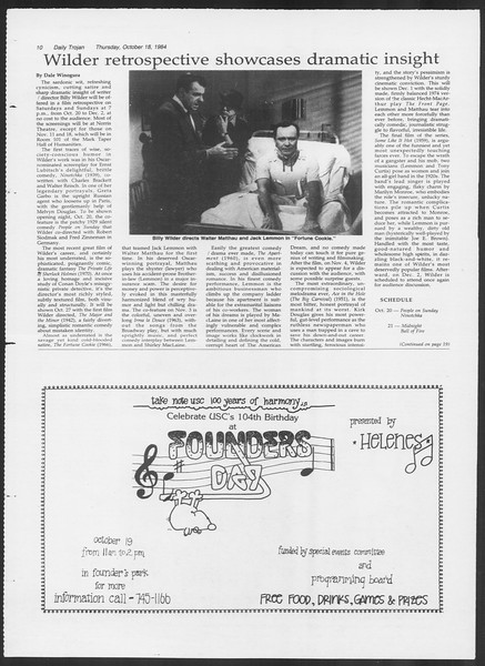 Daily Trojan, Vol. 97, No. 33, October 18, 1984