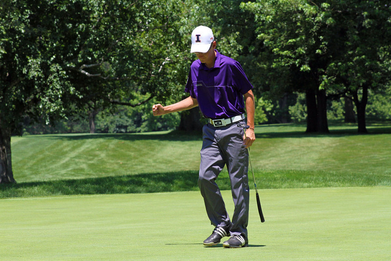 Dylan Meyer of Evansville, Ind., gives some emotion after his birdie putt on the 16th hole found the bottom of the cup during the final round of the 96th Western Junior at Meridian Hills Country Club.