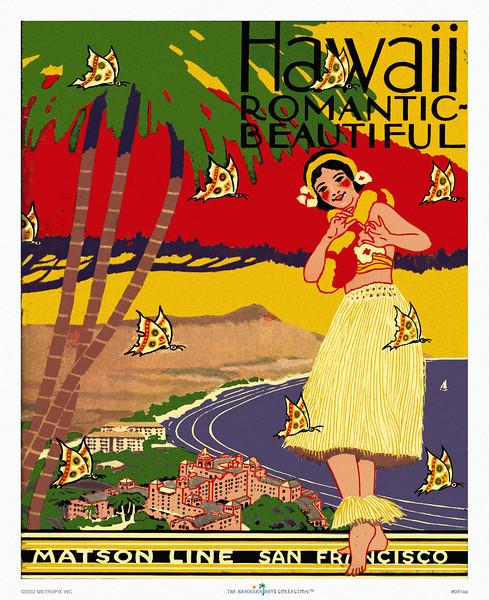 081: Ocean Navigation Company San Francisco (Menu Cover) 'Hawaii, Romantic, Beautiful.' Ca. 1934.