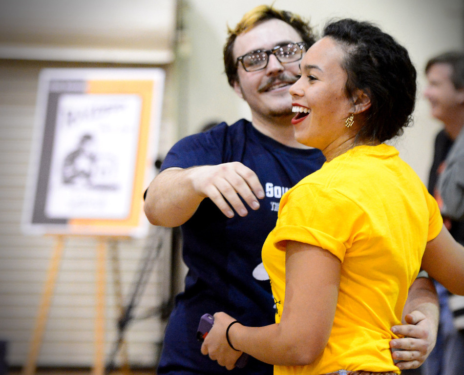 """. Caltech\'s Harrison Miller, of the Cunning Stunts,  congratulates Monica Enlow, of the 40 Pc Chicken McNuggets, as her team wins the annual ME72 Engineering Design Contest at  Caltech in Pasadena Tuesday, March 11, 2014. The goal in \""""Raiders of the Lost Can\"""" was to move their team\'s can closest to the center of a platform. (Photo by Sarah Reingewirtz/Pasadena Star-News)"""