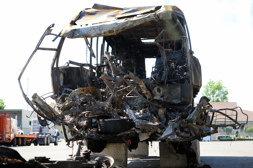 . The bus involved in the crash with the FedEx truck sits in a CalTrans yard in Orland, Saturday, April 12, 2014. (Photo by Michael Owen Baker/L.A. Daily News)