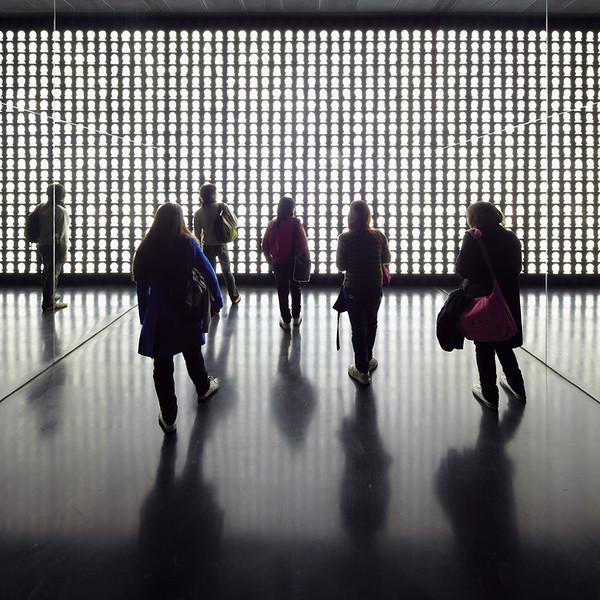 The light continues to intensify until it reaches its brightest capacity, burning the silhouettes into the mind's inner retina. (Courtesy Alfredo Jaar Studio)