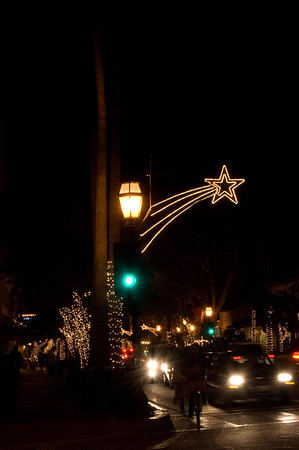 Christmas Lights on State Street in Santa Barbara, California