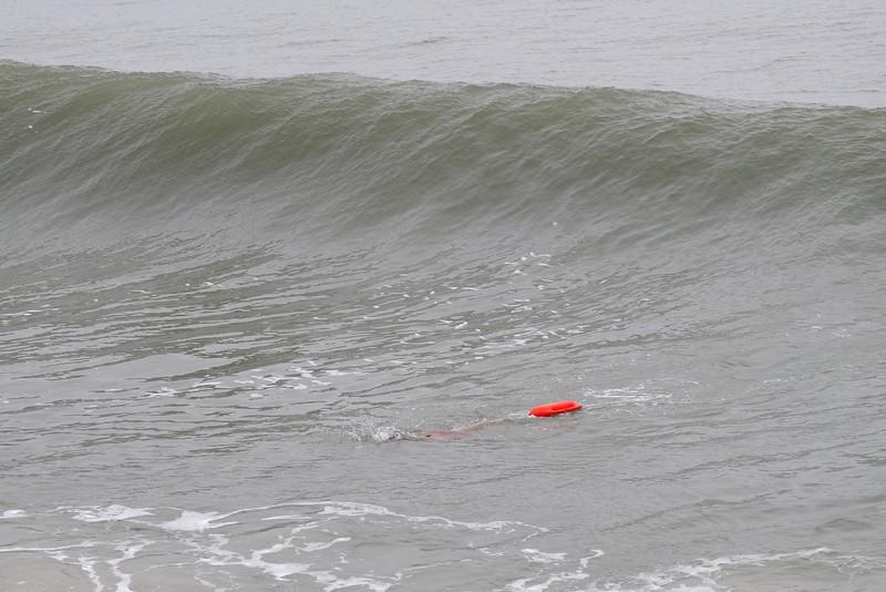 It wasn't easy, swimming in the Atlantic Ocean today........
