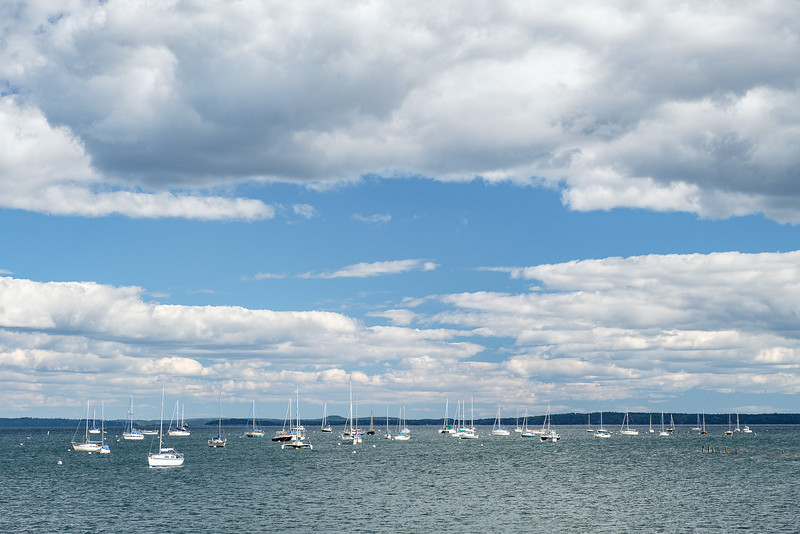 Boats in Harbor in Camden, Maine on a Bright Fall Day