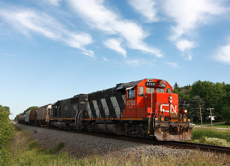 Canadian National 4705 (GMD GP38-2) - Ackerville, WI