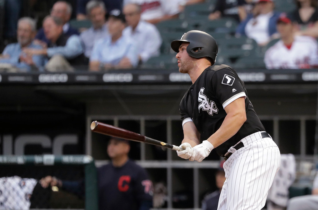 . Chicago White Sox\'s Matt Davidson watches his RBI double off Cleveland Indians starting pitcher Adam Plutko during the first inning of a baseball game Tuesday, June 12, 2018, in Chicago. (AP Photo/Charles Rex Arbogast)