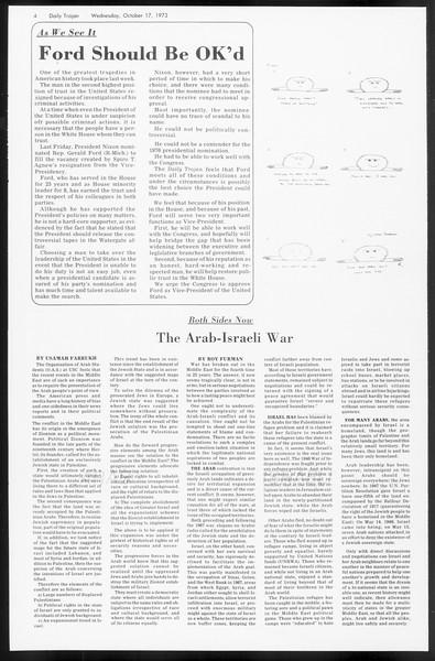 Daily Trojan, Vol. 66, No. 22, October 17, 1973