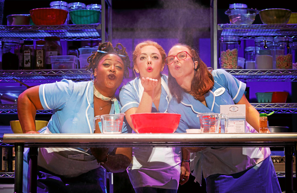 . Charity Angel Dawson, left, Desi Oakley and Lenne Klingaman portray waitresses in �Waitress,� which just launched its national tour in Cleveland. The Broadway musical is at Connor Palace at Playhouse Square through Nov. 5. For more information, visit playhousesquare.org. (Joan Marcus)