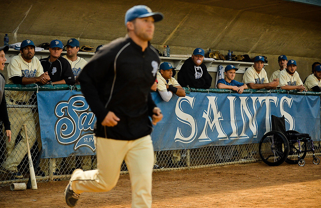 . Players are introduced before the St. Paul Saints play their last game at Midway Stadium. (Pioneer Press: Ben Garvin)