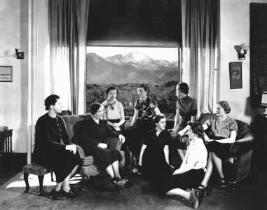 Dean of Women's Apartment, Dean Louise Fauteaux, Seated at left in Arm Chair, Circa 1940