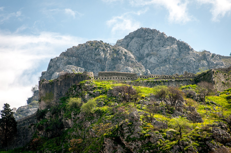 Kotor fortress walls in Montenegro