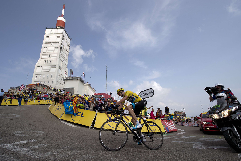 . Overall leader\'s yellow jersey Britain\'s Christopher Froome rides to win during the 242.5 km fifteenth stage of the 100th edition of the Tour de France cycling race on July 14, 2013 between Givors and Mont Ventoux, southeastern France.   REGIS HALBOUT/AFP/Getty Images